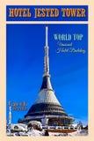 Hotelu wierza, podróż plakat, Światowy ODGÓRNY Niezwykły Hotelowy budynek zdjęcie stock