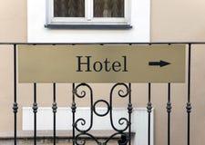 Hotelu znak zdjęcie stock