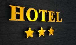 Hotelzeichen mit drei Sternen Lizenzfreie Stockbilder