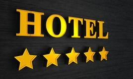 Hotelzeichen mit fünf Sternen Stockfotografie
