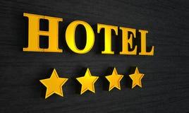 Hotelzeichen mit vier Sternen Lizenzfreie Stockfotos