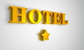 Hotelzeichengold auf weißem mit einem Stern Stockbild