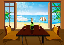 Hotelzimmer- und Strandlandschaft Stockbild