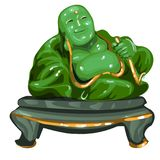 Hotey figurine made of jade isolated on white background. Statuette of nephrite in the Oriental style. Vector. Illustration Stock Images