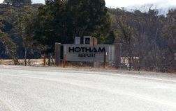 Hotham Airport Sign. Mount Hotham is a beautiful part of the world. When it snows the scenery is magic. There is an airport to transport people and professional stock photography