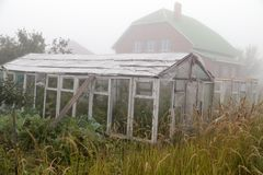 A hothouse in the fog in the morning Royalty Free Stock Photography