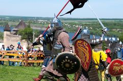 HOTIN, UKRAINE - Mai 2013: Das dritte internationale Festival der historischen Rekonstruktion der Mittelalter Lizenzfreies Stockfoto