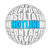 Hotline. Circle words on the ball on the topics Stock Photo