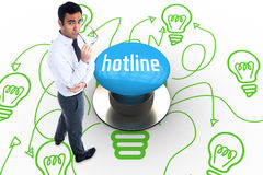 Hotline against blue push button Stock Images