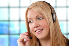 Hotline girl. One more beautiful call centre / help-desk / hotline girl for the already overabundant category Stock Photo