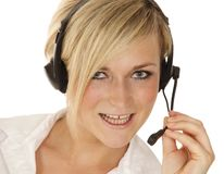 Hotline girl talking Royalty Free Stock Photography