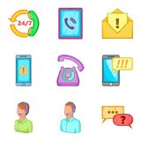 Hotline icons set, cartoon style Royalty Free Stock Photos