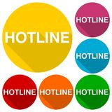 Hotline icons set with long shadow Stock Image
