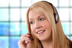 Hotline meisje Stock Foto