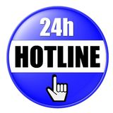 Hotline Number Button. An illustrated blue button for a 24-hour working hotline number Royalty Free Stock Photography