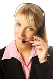 Hotline operator. Picture of a Friendly hotline operator Stock Image