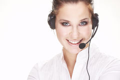 Hotline operator. Nice hotline operator with headset - on white Royalty Free Stock Photos