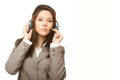 Hotline operator with headset Stock Image