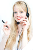 Hotline operator with headset. Hotline operator woman blond with headset Stock Image