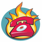 Hotline Phone in Red with Flames Behind -cartoon. Red otline phone cartoon with flames behind Stock Images