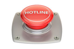 Hotline red button, 3D rendering. Isolated on white background Royalty Free Stock Photography