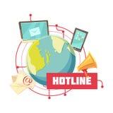Hotline Retro Cartoon Design Stock Images