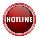 Hotline round metallic red button Royalty Free Stock Photos