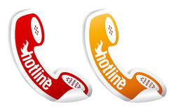 Hotline stickers. Hotline stickers set in form of the handset Stock Photo
