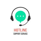 Hotline support service with headphones Stock Photography