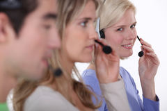 Hotline workers. Royalty Free Stock Images