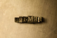 HOTMAIL - close-up van grungy wijnoogst gezet woord op metaalachtergrond Royalty-vrije Stock Afbeeldingen