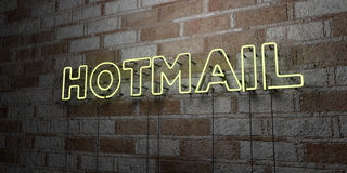 HOTMAIL - Glowing Neon Sign on stonework wall - 3D rendered royalty free stock illustration Royalty Free Stock Photography