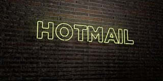 HOTMAIL -Realistic Neon Sign on Brick Wall background - 3D rendered royalty free stock image Royalty Free Stock Images