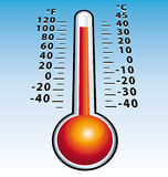 Hotness thermometer perspective. Illustration background Stock Image