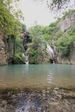 Hotnitsa vattenfall, Veliko Tarnovo område Royaltyfria Foton