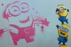 Hoto της ΕΥΤΥΧΟΎΣ MINION ` τέχνης τοίχων ` Στοκ φωτογραφία με δικαίωμα ελεύθερης χρήσης