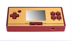 Portable video game console. Hoto of a retro, portable video game console.Gameplay on a white background Royalty Free Stock Images