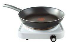 Hotplate with pan royalty free stock image