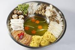 Hotpot用海鲜和vegatable 库存照片