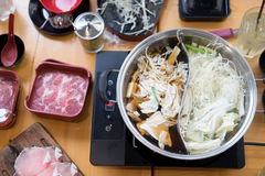 Hotpot two styles of shabu soup top view. And many vegetable and raw meat royalty free stock photos