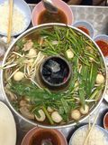 Hotpot vegetable,beef and pork Stock Image