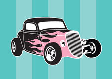 Hotrod. Illustration of an old-school hot rod with pink flames an a striped background Royalty Free Stock Image