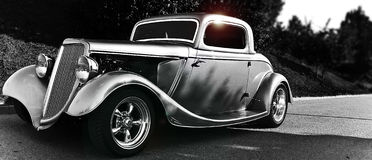 Hotrod. Old hotrod in black and white Royalty Free Stock Photography