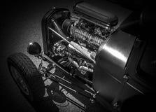 HOTROD CLASSIC CAR ON BLACK BACKGROUND stock photo