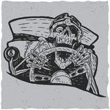 Hotrod masters t-shirt label design. With illustration of angry dead hotrod driver Royalty Free Stock Photography