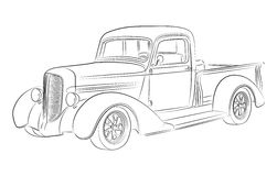 Hotrod pickup drawing. Oldschool hotrod pickup  drawing Stock Photos