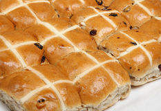 Hots Cross Buns. Rows of freshly baked hot cross buns Royalty Free Stock Image