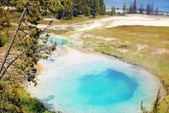 Hotsprings bleus lumineux au parc national de Yellowstone image stock
