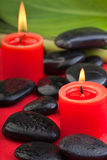 Hotstones with red candles (2) Stock Photography