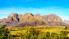 Hottentot-Holland-Berge umgeben durch Weinberge und Ackerland in der Weinregion von Stellenbosch Stockbilder